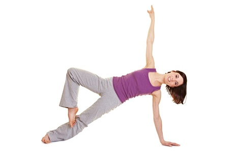 Happy woman with body tension doing fitness exercises Stock Photo - 9436796