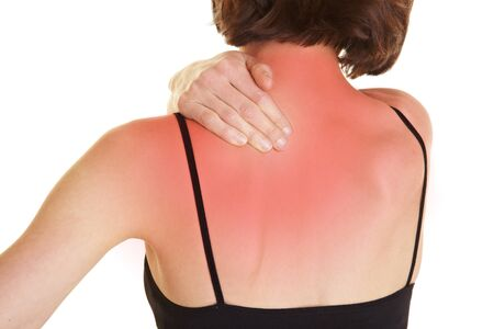pangs: Giovane donna massaggiare schiena dolorante rossa