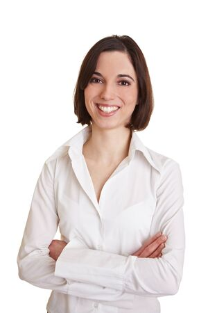 Young happy business woman with arms crossed photo