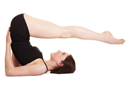 sideways: Young woman showing a legs, bums and tums exercise
