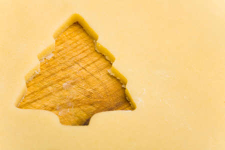 Raw cookie dough with christmas tree shaped hole photo