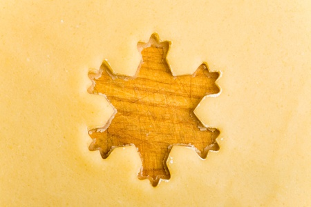 Empty christmas star shape on raw cookie dough from above photo