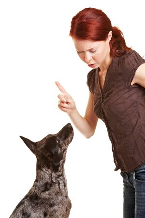 punish: Woman scolding her dog with her index finger Stock Photo