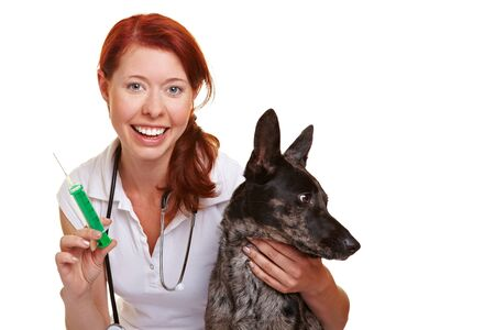 Happy female vet with a syringe and dog photo