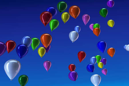 Many colorful balloons flying in the blue sky Stock Photo - 9966433