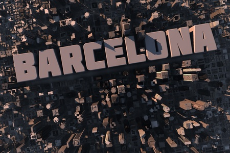estate planning: Top view of urban city in 3D with skycrapers, buildings and name Barcelona