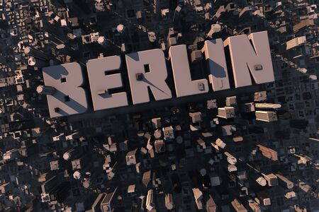 property berlin: Top view of urban city in 3D with skycrapers, buildings and name Berlin