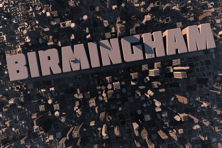 birmingham: Top view of urban city in 3D with skycrapers, buildings and name Birmingham