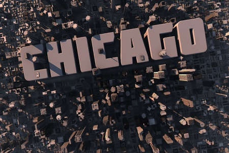 chicago skyline: Top view of urban city in 3D with skycrapers, buildings and name Chicago Stock Photo
