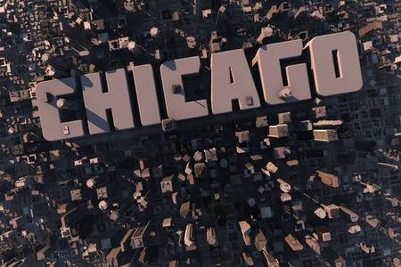 logements: Vue du haut de la ville urbaine en 3D avec des grattes ciel, les b�timents et le nom de Chicago Banque d'images