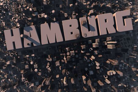 hamburg: Top view of urban city in 3D with skycrapers, buildings and name Hamburg Stock Photo