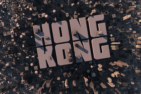 apartment market: Top view of urban city in 3D with skycrapers, buildings and name Hong Kong