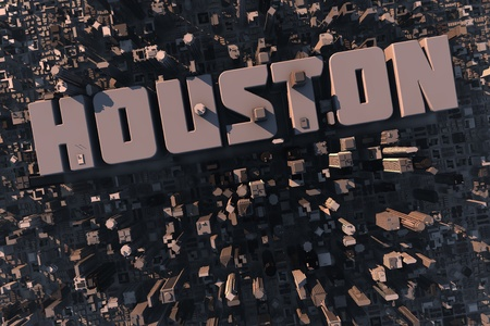 houston: Top view of urban city in 3D with skycrapers, buildings and name Houston
