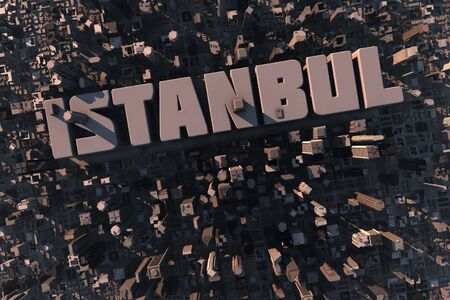 urban planning: Top view of urban city in 3D with skycrapers, buildings and name Istanbul