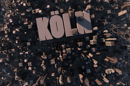 cologne: Top view of urban city in 3D with skycrapers, buildings and name Köln