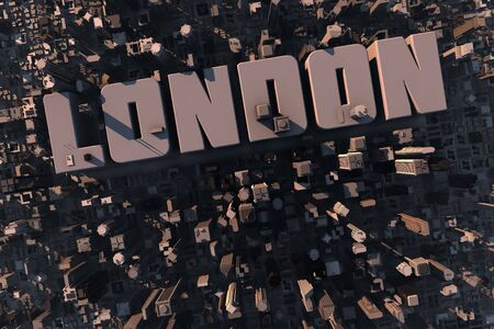 large house: Top view of urban city in 3D with skycrapers, buildings and name London Stock Photo