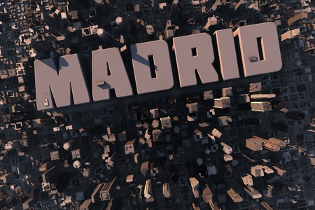 real madrid: Top view of urban city in 3D with skycrapers, buildings and name Madrid Stock Photo