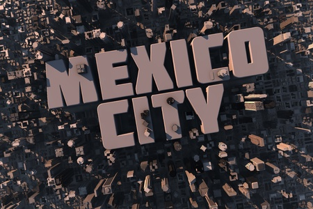 Top view of urban city in 3D with skycrapers, buildings and name Mexico City photo