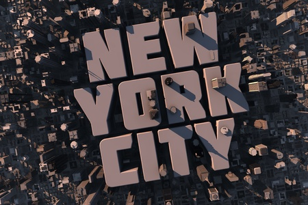 Top view of urban city in 3D with skycrapers, buildings and name New York City
