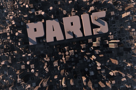 paris skyline: Top view of urban city in 3D with skycrapers, buildings and name Paris