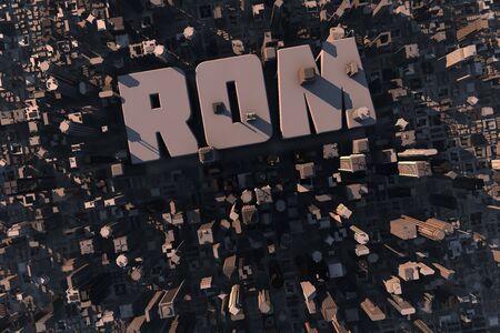 Vista dall'alto della città urbana in 3D con grattacieli, palazzi e Rom nome