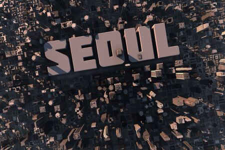 Top view of urban city in 3D with skycrapers, buildings and name Seoul photo