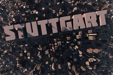 Top view of urban city in 3D with skycrapers, buildings and name Stuttgart photo