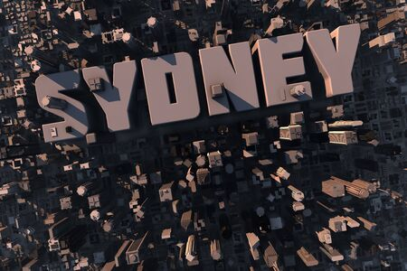 housing development: Top view of urban city in 3D with skycrapers, buildings and name Sydney