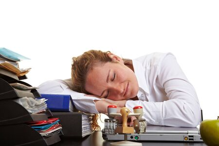 Tired business woman sleeping on her desk in the office Stock Photo - 10175060