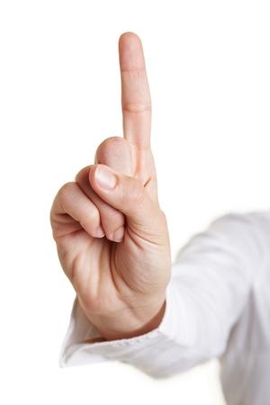 dedo indice: Levantó femenina dedo índice aislado en blanco