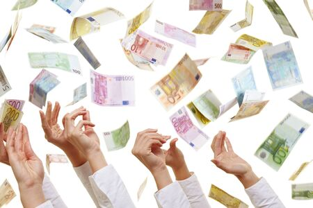 money rain: Many hands reaching for flying Euro paper money