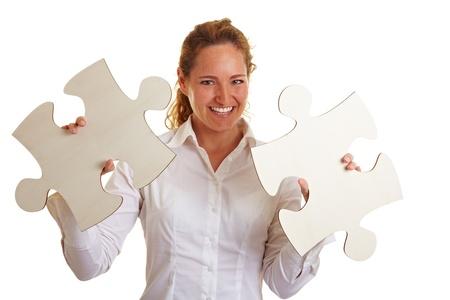 przewymiarowany: Szczęśliwa kobieta biznesu z dwóch elementów ponadgabarytowych ukÅ'adanki Zdjęcie Seryjne
