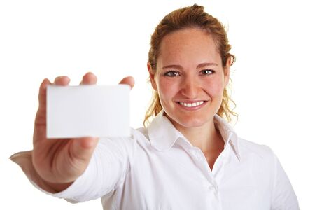 Smiling young woman showing an empty business card photo