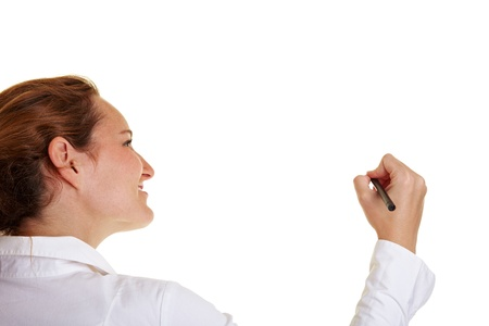 people from behind: Young business woman using a pen on glass Stock Photo