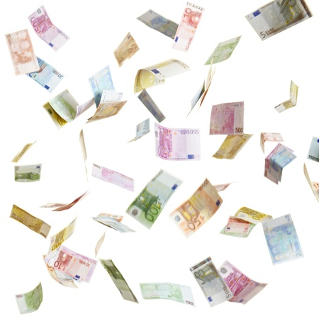 money euro: Many flying Euro currency paper money in the air