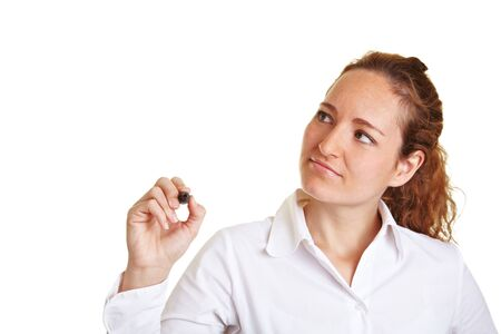 Business woman writing with a pen on glass Stock Photo - 10175012