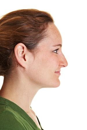 visage femme profil: Vue de profil de la femme jeune femme brune du côté Banque d'images