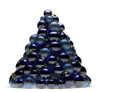 Christmas tree made of many blue christmas tree ball ornaments photo