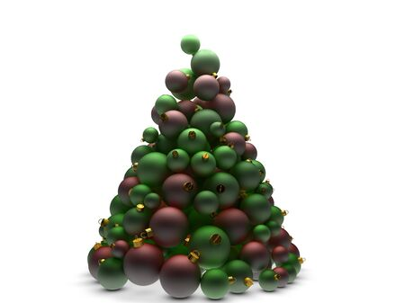 chrome ball: Christmas tree made of many red and green ball ornaments Stock Photo