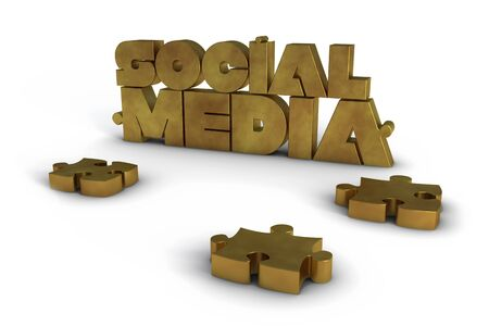 Golden Social Media lettering with some jigsaw pieces Stock Photo - 10203826