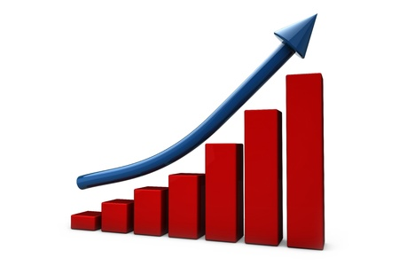 market trends: Growing red bar chart and blue rising arrow Stock Photo