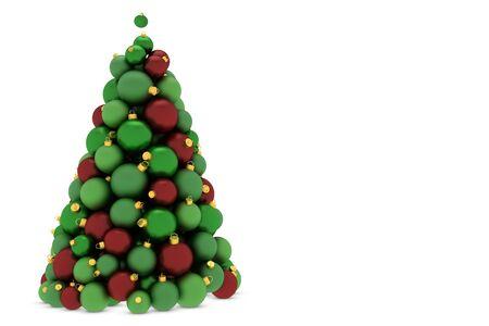 Christmas tree made of red and green christmas tree balls photo