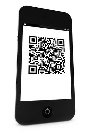 Smartphone with a QR bar code on the display photo