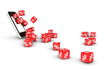 Red percentage dices rolling out of a smartphone Stock Photo - 10281447