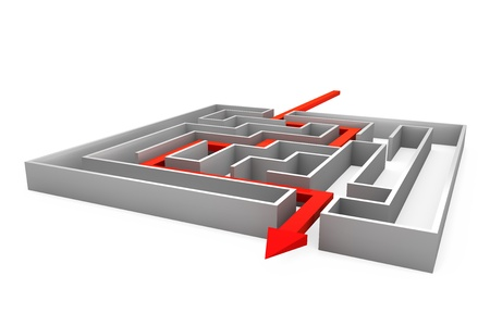 input output: Maze with red arrow showing the path Stock Photo