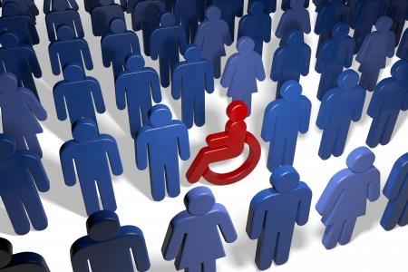 minusv�lidos: Usuario de discapacitados entre muchas personas masculinas y femeninas Foto de archivo