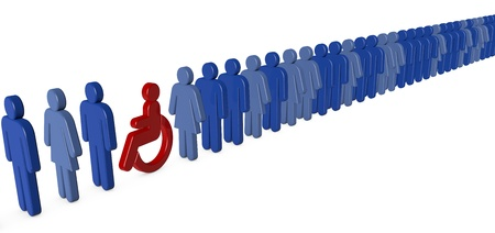 integrated group: Wheelchair person waiting in a long queue Stock Photo