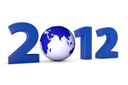 Year 2012 with a blue earth globe as Zero Stock Photo - 10340423