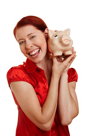thrift box: Woman smiling with a piggy bank on her shoulder