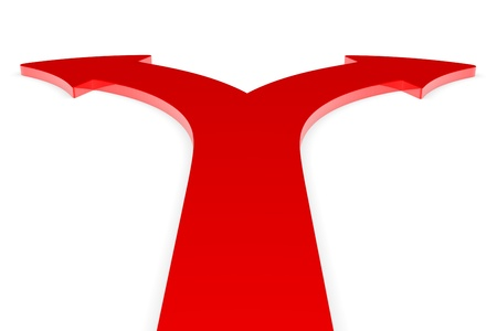 Two red arrows pointing in two different directions Stock Photo - 10483050